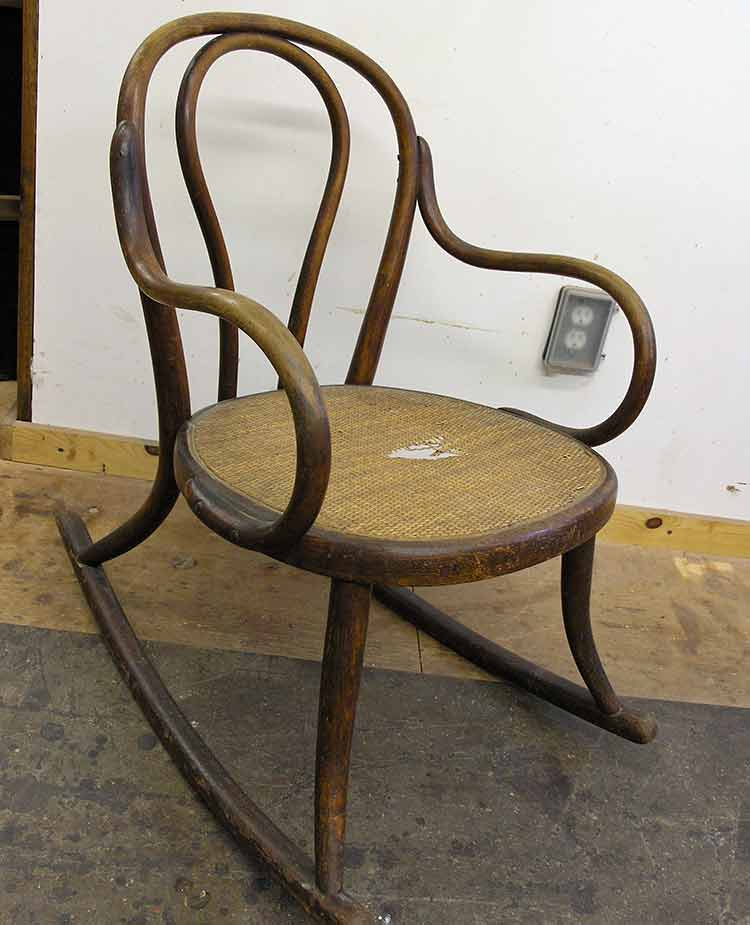 Child's bentwood rocker before restoration