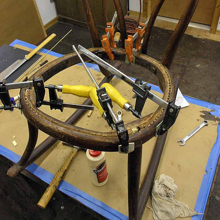 Child's bentwood rocker glued and clamped