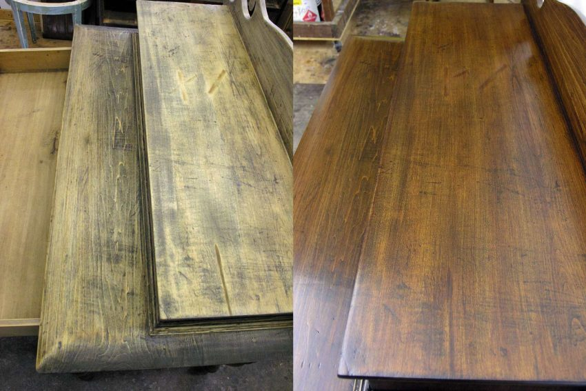 Desk top before and after finishing