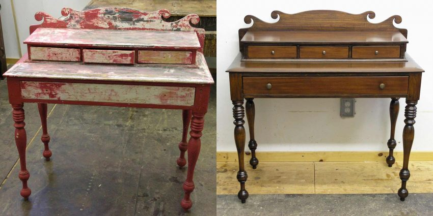Ladies desk before and after refinishing