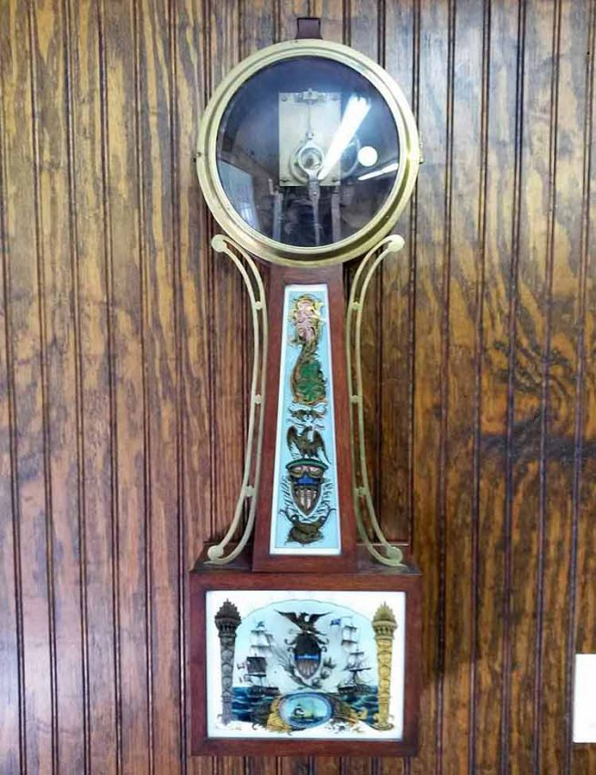 Banjo clock case after repair