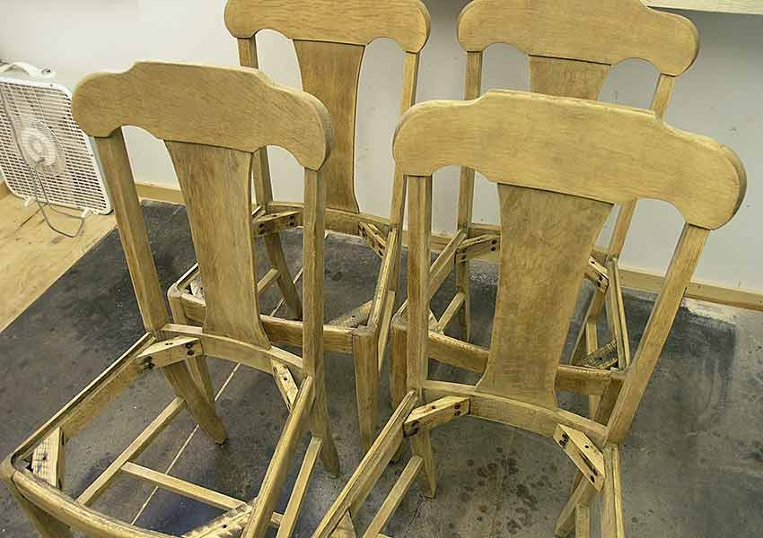 4 Oak chairs stripped and sanded