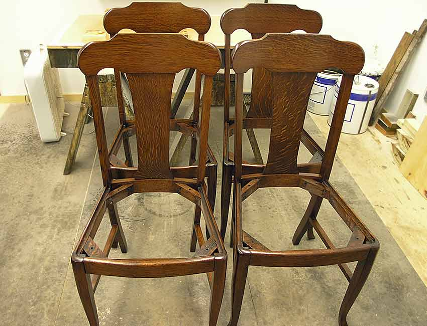 Oak chairs after refinishing