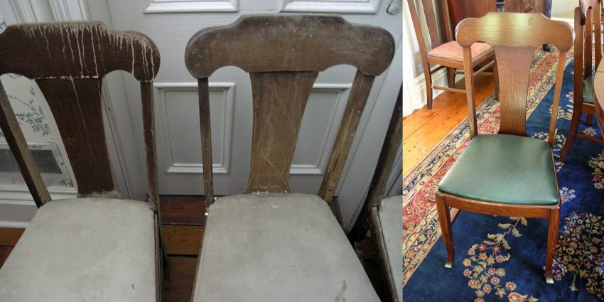 Oak chairs before and after refinishing