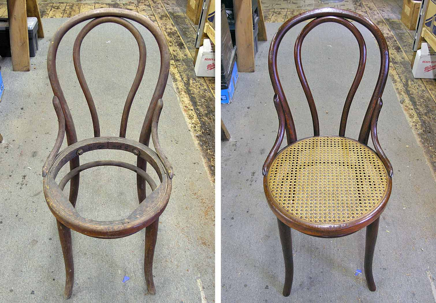 Bentwood chair before and after restoration