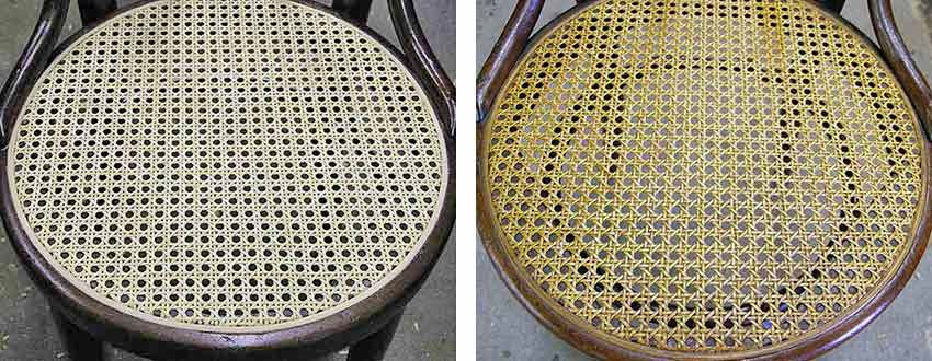New cane seat before and after stain