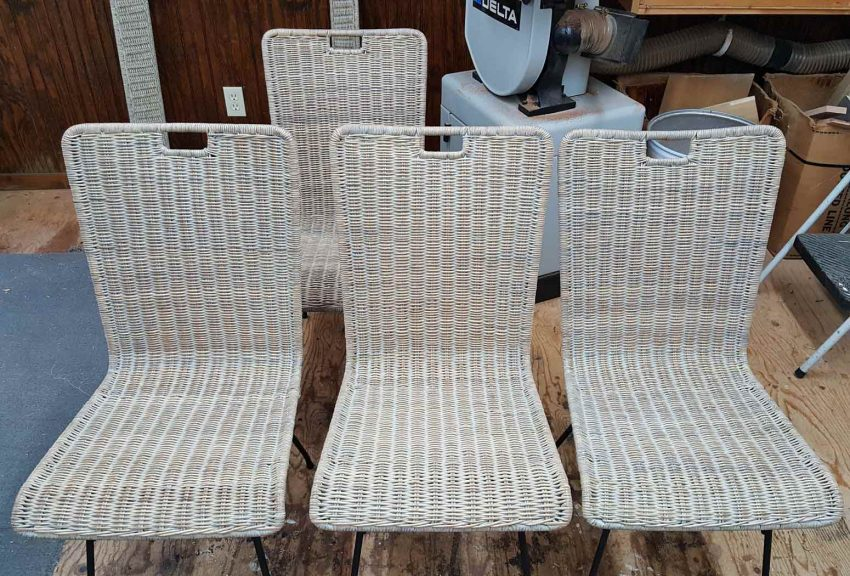 4 Wicker chairs and table after restoration