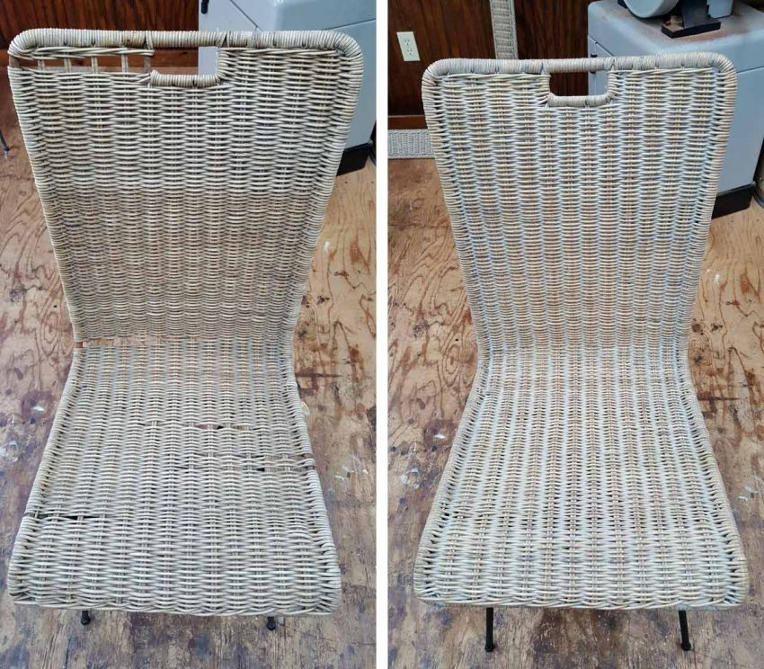 Wicker chair before and after repair