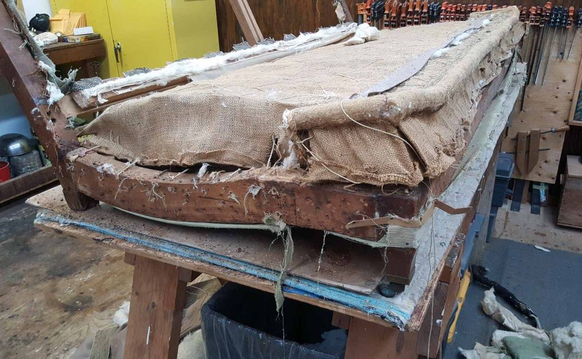 Removing upholstery from the sofa frame