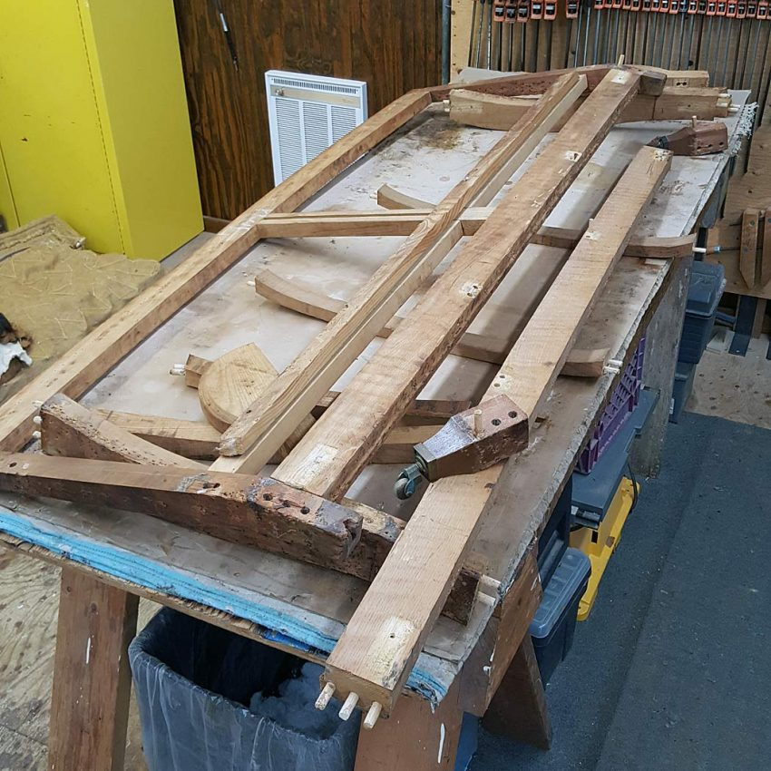 Sofa frame dis-assembled