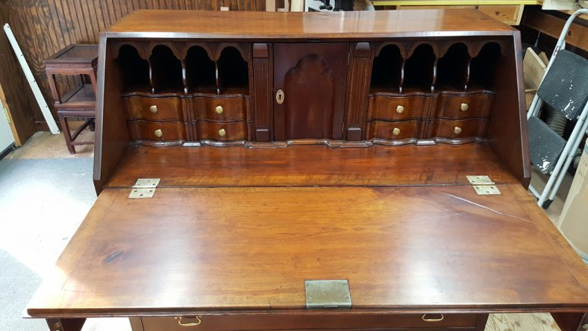 Restored desk with lid open