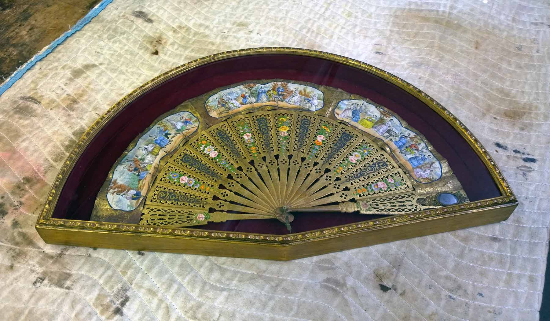 Antique hand fan display