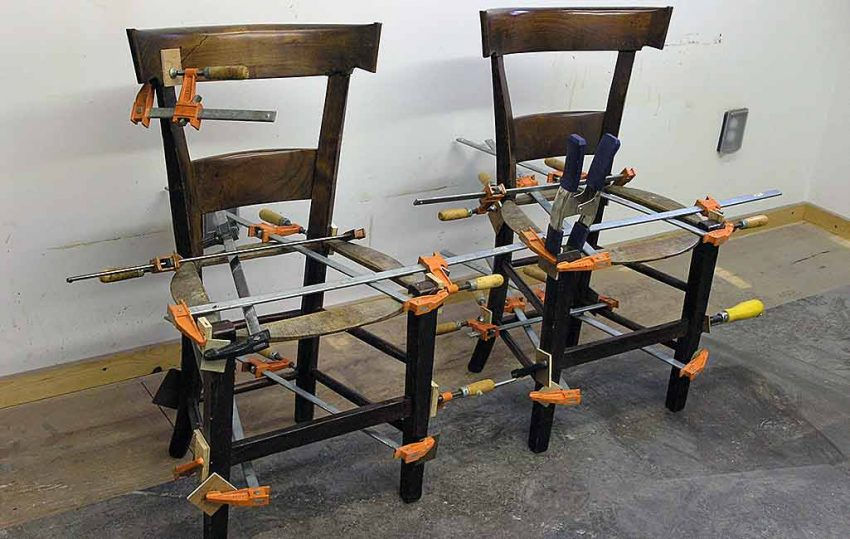 2 Chairs glued and clamped tight