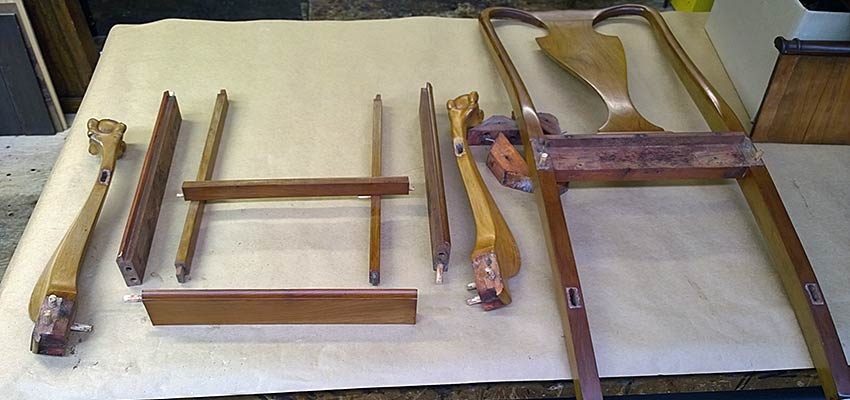 Disassembled chair parts laid out