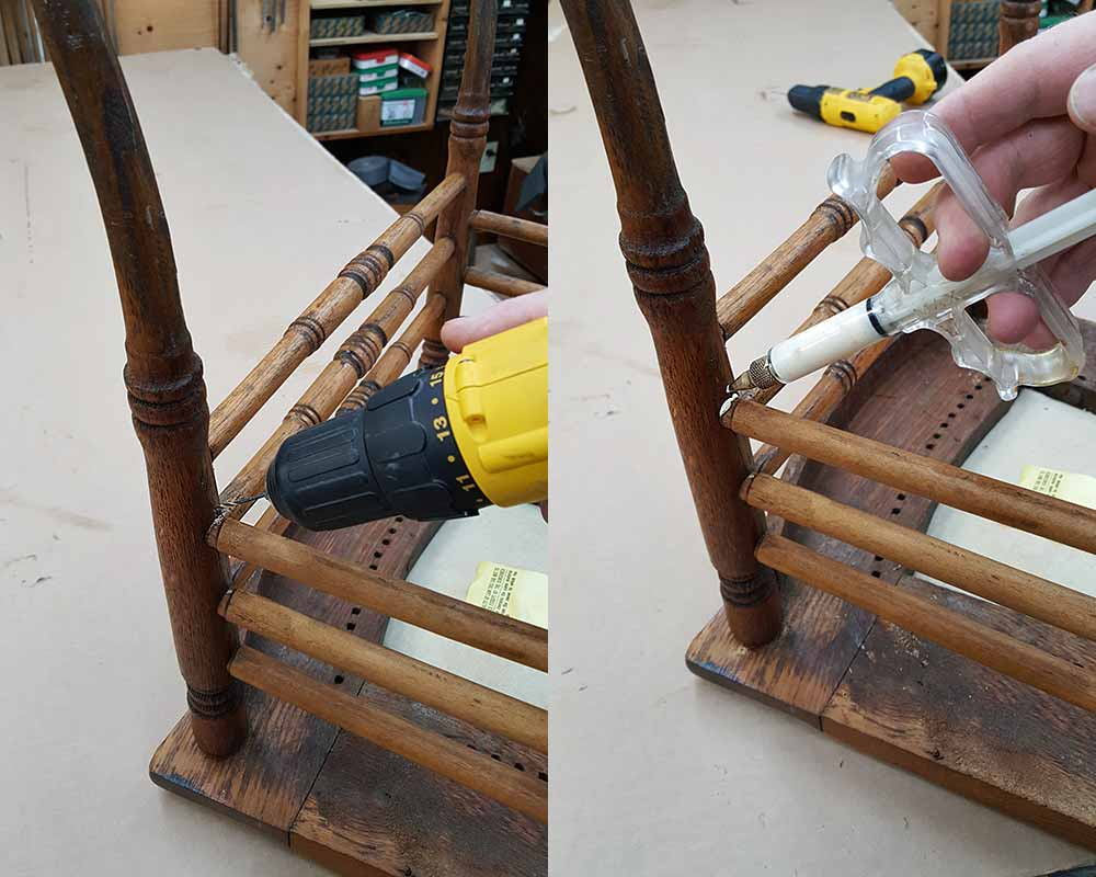 Injecting glue into a loose chair joint