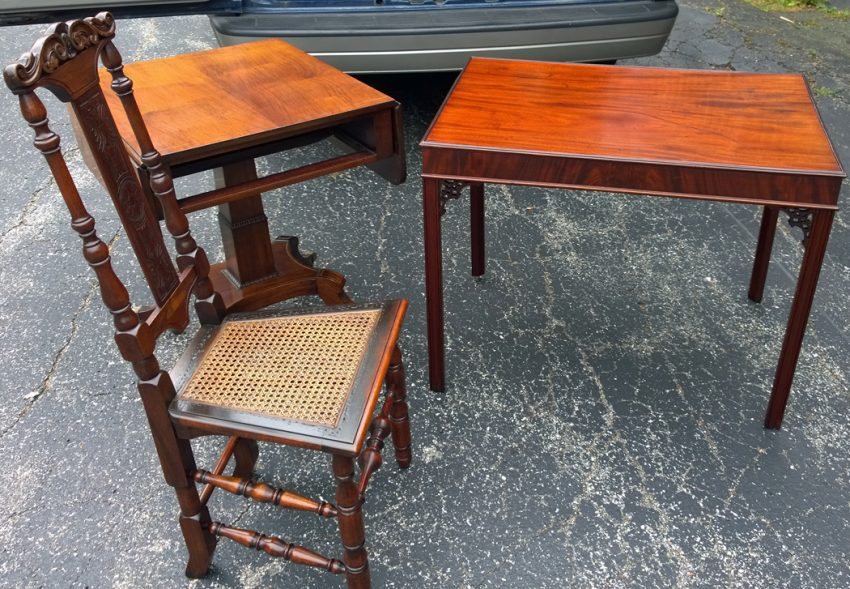 2 Restored tables and chair